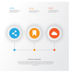 Internet icons set collection publish flag vector