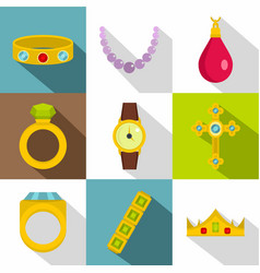 jewelry collection icon set flat style vector image