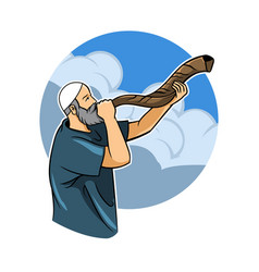 Jewish blowing shofar vector