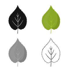 Linden leaf icon in cartoon style for web vector