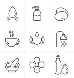 Line Icons Style Spa Icons Set Design vector