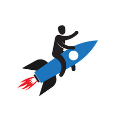 man flying on rocket successful development vector image