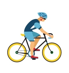 man with helmet ride road bicycle cycling vector image