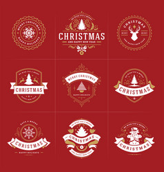 merry christmas ornate labels and badges vector image