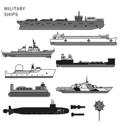 Military ships warship and battleship on white vector