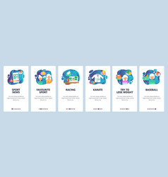 mobile app onboarding screens sport game online vector image
