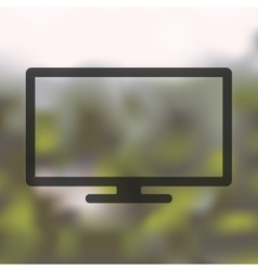 Monitor icon on blurred background vector