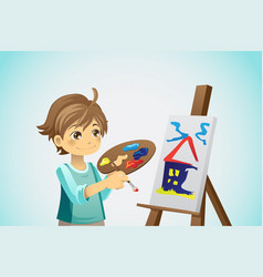 Painting kid vector