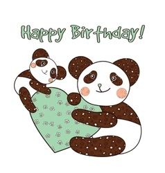 Panda with heart happy birthday card vector