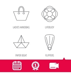 Paper boat flippers and lifebuoy icons vector image