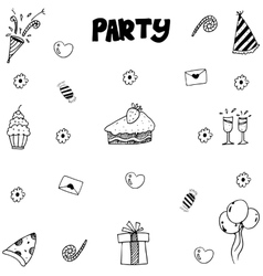 Party doodle with hand draw vector image