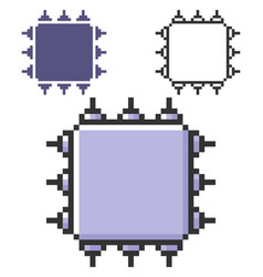 Pixel icon central processing unit in three vector