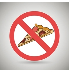 Pizza fast food unhealth prohibited vector