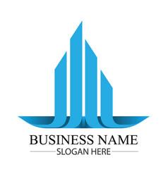 real estate construction building blue logo vector image