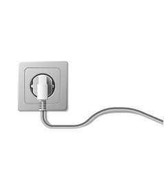 Realistic electric socket and plug on white vector
