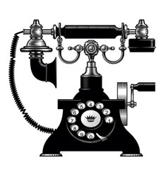 Retro black phone vector