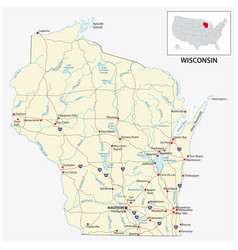 road map us american state wisconsin vector image