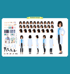 Scientist character creation set woman works vector