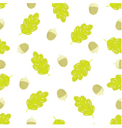 seamless pattern acorns and oak leaf vector image