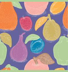 seamless pattern with ripe fruits mix vector image
