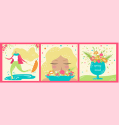 set of hand-drawn spring postcards springtime vector image