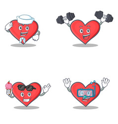 set of heart character with sailor fitness ice vector image