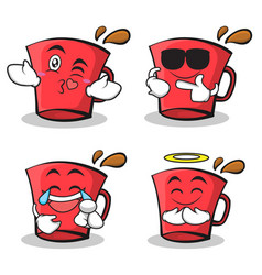 Set red glass character cartoon collection vector