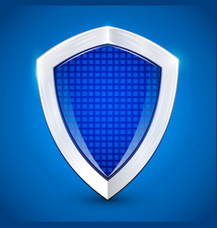 shiny metal blue shied protection concept vector image