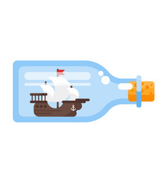 ship in a glass bottle vector image