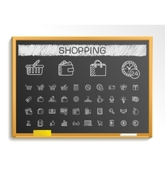 Shopping hand drawing line icons chalk sketch vector