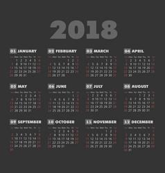 Simple 2018 year dark background calendar vector