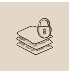 Stack of papers with lock sketch icon vector image