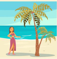 summer girl in bikini vector image