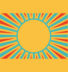 Sun red yellow blue background pop art retro vector