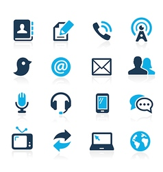 Telecommunications icons azure series vector