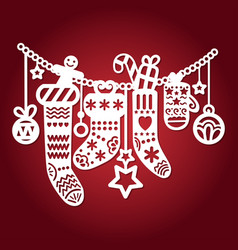 template for laser cutting christmas decoration vector image