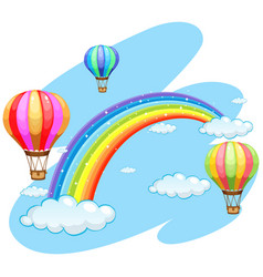 Three balloons flying over the rainbow vector