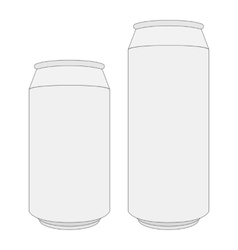 Two blank white beer cans with place for design vector
