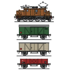 Vintage electric cargo train vector