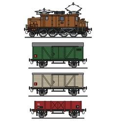 Vintage electric cargo train vector