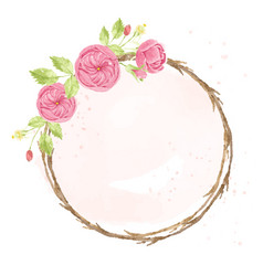 Watercolor pink english rose with dry twig vector