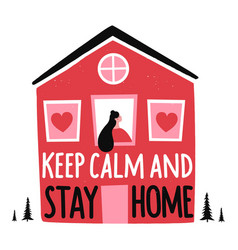 with doodle style house young woman inside pine vector image