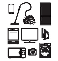 Home appliances and electronics icons vector image