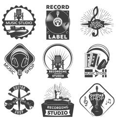 Music Shop Label Set vector image vector image