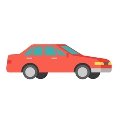 Red Car Isolated on White Car Icon Symbol vector image