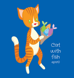 red cat carry fish in the package vector image vector image