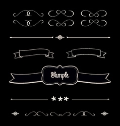 Blackboard shabby chic design elements dividers vector