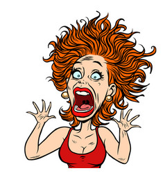 funny scared woman vector image vector image