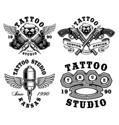 set of monochrome tattoo emblems vector image vector image