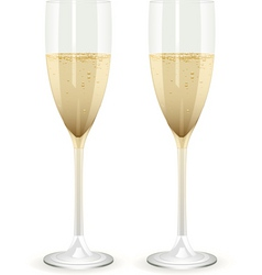 two champagne glasses filled with champagne on a w vector image